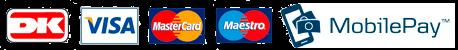 Betal med DanKort, Visa, MasterCard, Maestro og MobilePay