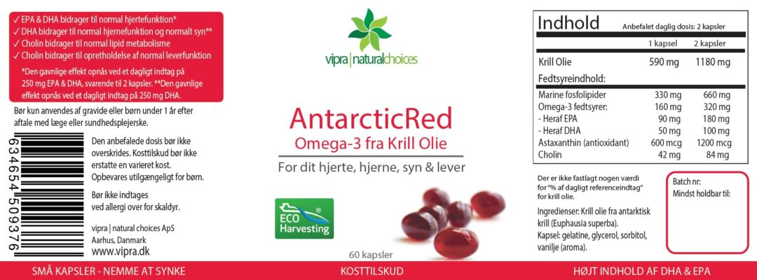 Se label af AntarcticRed Krill Olie 2019