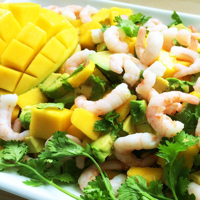 Mango, rejer og avocado salat