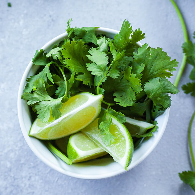 Lime og Koriander i Kyllingesuppe Med Kokos Thai madopskrift - Tom Kha Gai